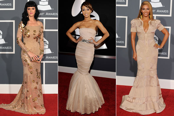 katy perry keri hilson beyonce tan dresses grammys 2010 red carpet