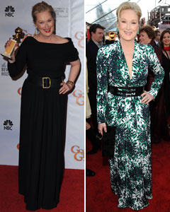 Meryl Streep 2010 golden globes chis march dress sag awards 2010 printed balenciaga dress belts