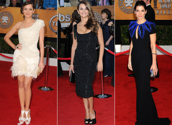2010 SAG Awards Marion Cotillard Penelope Cruz Sandra Bullock beaded dresses red carpet