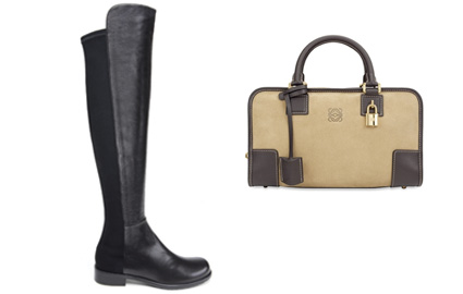Stuart Weitzman 50/50 over-the-knee Boots and Loewe Amazona Handbag