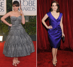 Tina Fey Golden Globes SAG Awards 2010 Dress purple strapless