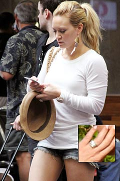 Hilary Duff Tries To Hide Huge Engagement Ring