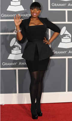 jennifer Hudson victoria beckham dress black grammys 2010 red carpet
