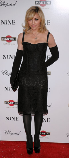 Madonna black dress goves