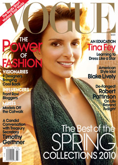 Tina Fey Vogue March 2010 Cover Green Dress