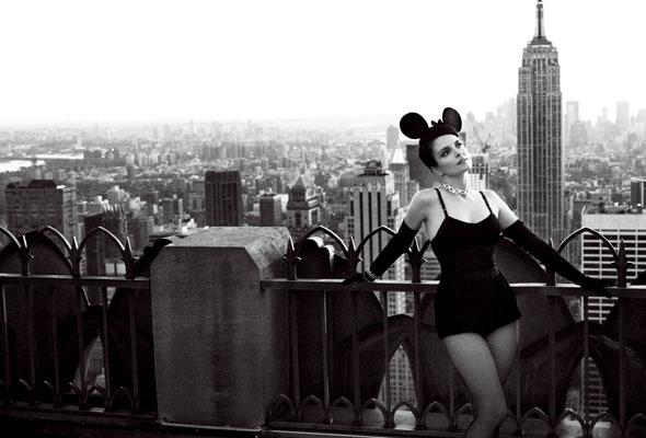 Tina Fey mouse ears new york skyline vogue march