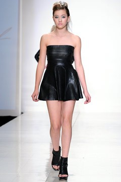 Ava Sambora black strapless minidress runway fashion show