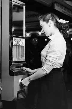 Woman at vending machine
