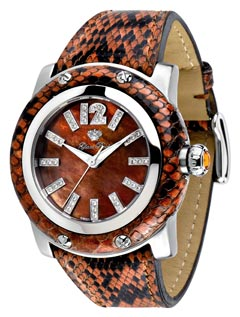 natural python-skin strap dark mother-of-pearl dial pavé diamonds