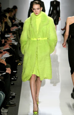 Karlie Kloss Michael Kors Runway Fall 2009 lime green coat