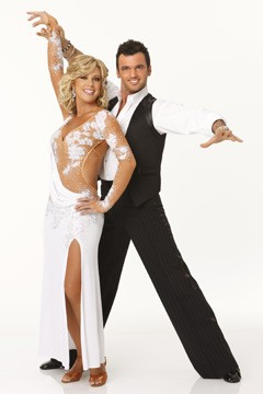 Kate Gosselin Tony Dovolani dancing with the stars promo picture white dress slit