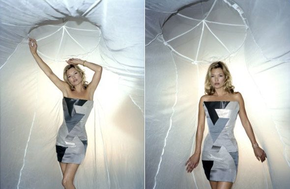 Kate Moss mosquito net dress malaria