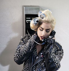 lady gaga telephone coke can rollers studded leather jacket