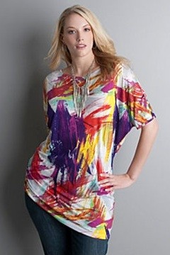 Lane Bryant brushstroke ruched T-shape top Spring 2010