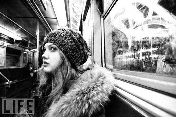 Training day. 15-year-old model, Lindsey Wixson, on the subway. Photo