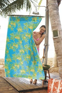 lilly pulitzer garnet hill printed shower curtain turquoise yellow model pink bikini