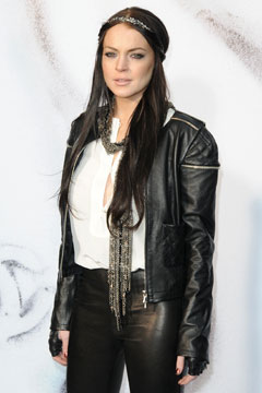 lindsay lohan black leather