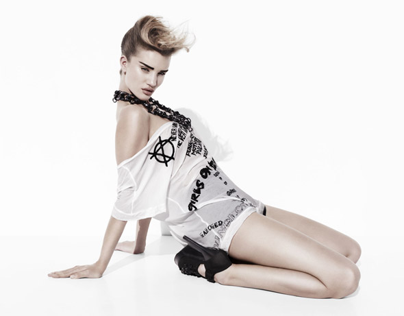 Rosie Huntington-Whiteley Thomas Wylde ad campaign graphic white tee