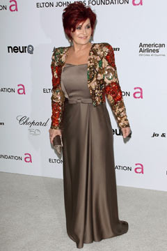 sharon osbourne and dress and jacket elton john oscar party