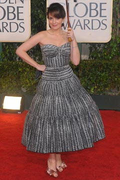 tina fey golden globes zac posen dress
