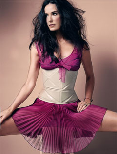 Elle May Demi Moore fuschia pleated dress nude corset