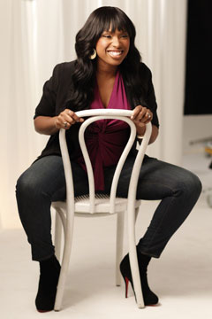 Jennifer Hudson Weight Watchers sitting white chair pink shirt