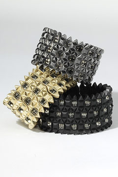 Studded pyramid stretch bracelets black diamond crystals Lia Sophia