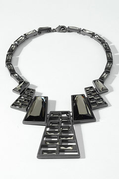 Zipper necklace black diamond crystals matte hematite Lia Sophia