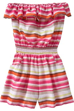 old navy romper gauze pink stripes