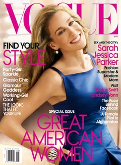 Sarah Jessica Parker Vogue May Cover 2010 Blue Dress