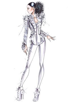 Giorgio Armani sketches Alicia Keys The Element of Freedom European tour military leather jacket crocodile print 