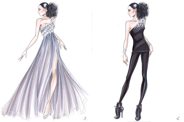 Giorgio Armani sketches Alicia Keys The Element of Freedom European tour one-shoulder top leggings leather boots one-shoulder silk chiffon gown Swarovski crystals sequins