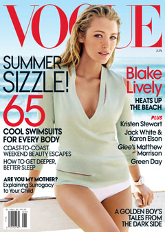 Blake Lively Vogue 2010 Cover V-neck top white bikini bottoms