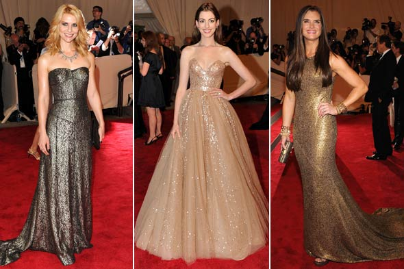 Claire Danes Anne Hathaway and Brooke Shields metallic dresses costume institute gala 2010