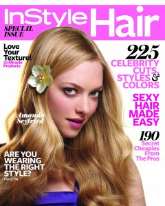 Amanda Seyfried InStyle Hair cover June 2010 blonde wavy hair flower pink lips