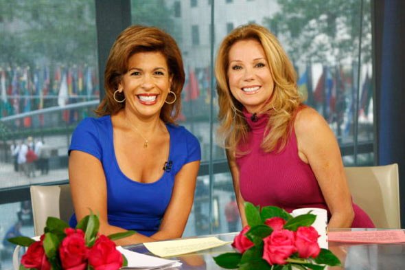 hoda kotb blue shirt kathie lee gifford pink dress today show