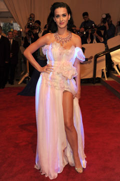 katy perry white dress high slit met costume institute gala