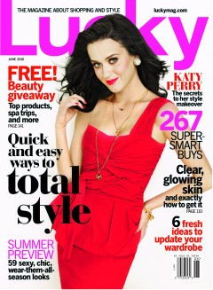 Katy Perry Lucky Magazine cover June 2010 Red Dress