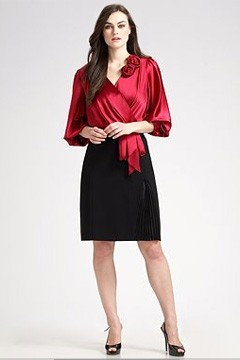 Silk Charmeuse Rosette Blouse Pleated Pencil Skirt Kay Unger Salon Z Saks Fifth Avenue