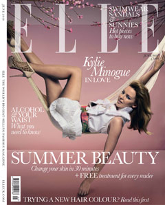 Kylie Minogue Elle UK June 2010 cover white dress hammock
