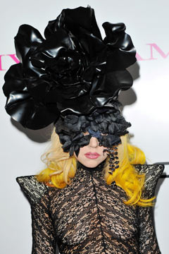 lady gaga black flower headpiece