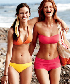 lands end bikinis pink orange
