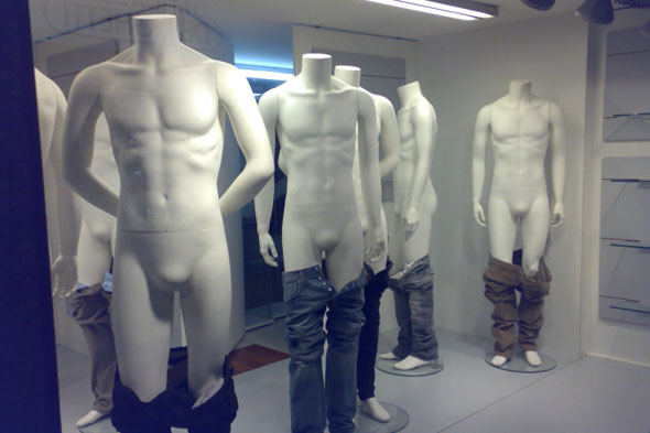 male mannequins pants down