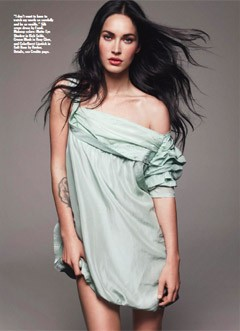 megan fox allure june 2010 mint green fendi off-shoulder dress wavy hair