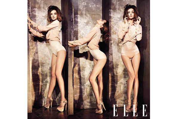 Miranda Kerr Elle magazine June Issue nude leotard heels