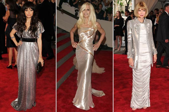 Nicole Richie Donatella Versace Anna Wintour metallic dresses met institute costume gala