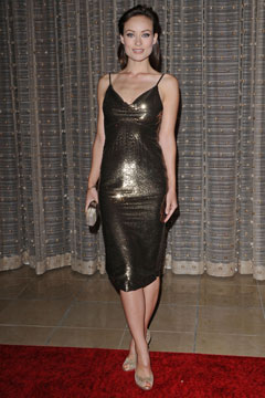 olivia wilde metallic dress