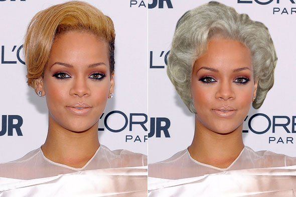 rihanna betty white hair