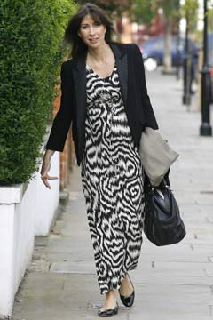 Samantha Cameron zebra print dress black blazer