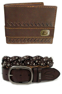 Skechers leather wallet belt